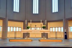 Invierno de la catedral de Hallgrimskirkja Imagen de archivo libre de regalías