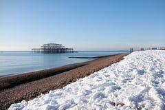 Invierno de la configuración de la nieve de la playa del embarcadero Fotografía de archivo