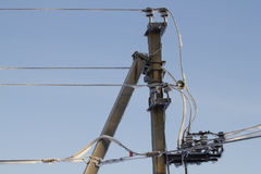 Invierno de la energía eléctrica del alambre Fotografía de archivo libre de regalías