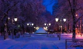 Invierno de la lámpara de la noche del callejón Fotos de archivo libres de regalías