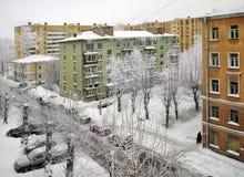 Invierno de la nieve en la ciudad Imagen de archivo libre de regalías