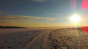 Invierno de la puesta del sol Foto de archivo libre de regalías