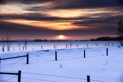 Invierno de la puesta del sol Imagen de archivo