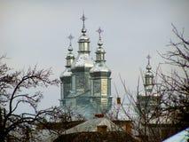 Invierno de la puesta del sol de la iglesia de Ortodox Imágenes de archivo libres de regalías
