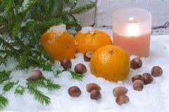 Invierno de la vela de la avellana de la nieve de las mandarinas Imagenes de archivo