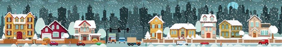 Invierno de la vida de ciudad ilustración del vector
