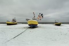 Invierno de los barcos de pesca Imagen de archivo libre de regalías
