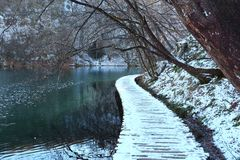Invierno de los lagos Plitvice Imagen de archivo