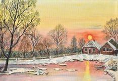 Invierno de pintura de la puesta del sol de la tarjeta de Navidad del paisaje de la Navidad de la nieve stock de ilustración