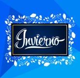 Invierno, de Winter Spaanse tekst, vector het van letters voorzien ontwerp vector illustratie