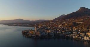 Invierno del abejón de la puesta del sol de Montreux almacen de video