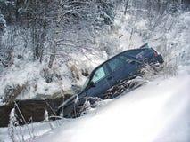 Invierno del choque de coche Imagen de archivo libre de regalías