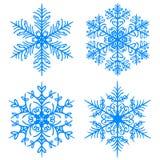 Invierno del copo de nieve Siluetas de la versión de la trama en el fondo blanco stock de ilustración