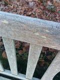 Invierno del frío del banco de madera de Frost Foto de archivo libre de regalías