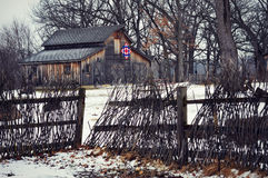 Invierno del granero del edredón imagenes de archivo
