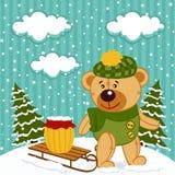 Invierno del oso de peluche Foto de archivo
