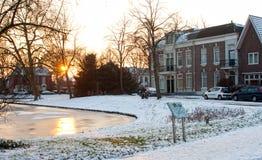 Invierno durante puesta del sol Fotos de archivo