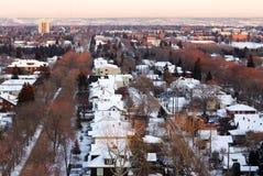 Invierno Edmonton en puesta del sol Foto de archivo libre de regalías