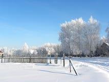Invierno en aldea Fotografía de archivo libre de regalías
