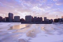 Invierno en Chicago fotos de archivo
