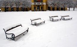 Invierno en ciudad Foto de archivo libre de regalías