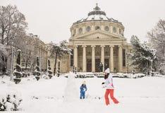 Invierno en el Athenaeum rumano Imagenes de archivo