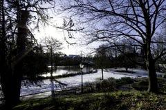 Invierno en el balneario real de Leamington - sitio de bomba/jardines de Jephson imagen de archivo libre de regalías