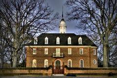 Invierno en el edificio colonial del capitolio de Williamsburg Fotografía de archivo