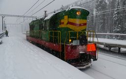 Invierno en el ferrocarril Fotos de archivo libres de regalías