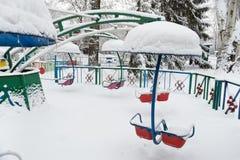 Invierno en el parque de la ciudad Foto de archivo libre de regalías
