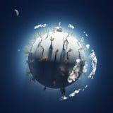 Invierno en el pequeño planeta Fotos de archivo