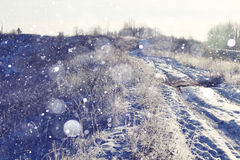 Invierno en el pueblo Fotos de archivo libres de regalías