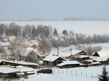 Invierno en el pueblo Fotos de archivo