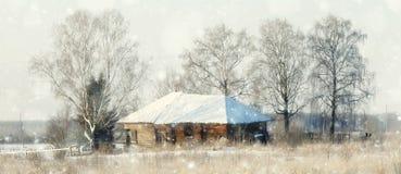 Invierno en el pueblo de madera Fotografía de archivo
