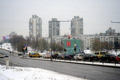 Invierno en la capital del distrito de Seskine de la ciudad de Lituania Vilna Imágenes de archivo libres de regalías