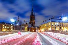 Invierno en la ciudad vieja en Estocolmo, Suecia Fotografía de archivo libre de regalías