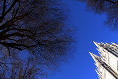 Invierno en la gran catedral de la Madeleine en Salt Lake City Imagenes de archivo