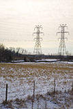 Invierno en la red de potencia Foto de archivo libre de regalías