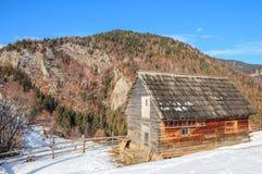 Invierno en las montañas cárpatas con una cabina de madera en el primero plano Fotografía de archivo libre de regalías