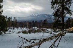 Invierno en las montañas de los Urales meridionales Fotos de archivo libres de regalías