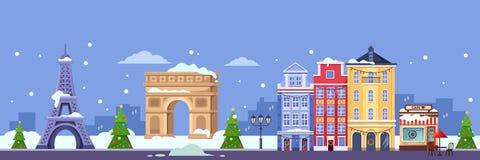Invierno en París Ejemplo plano del vector Viaje de la Navidad y del Año Nuevo a Francia stock de ilustración