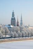Invierno en Riga, Letonia Imagen de archivo libre de regalías