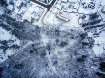 Invierno en Vilna, Lituania: Camino de Tuputiskes Seprentine Fotos de archivo