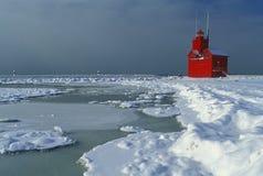 Invierno, faro de Holanda Imagen de archivo
