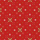 Invierno festivo rojo del enrejado de la escama de la nieve de la estrella ilustración del vector