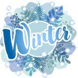 Invierno - fondo azul con los helechos, las hojas y los copos de nieve ilustración del vector