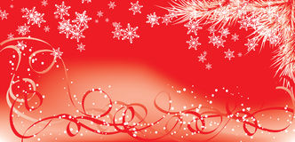 Invierno, fondo rojo con los copos de nieve, vector de la Navidad Fotografía de archivo