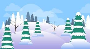 Invierno Forest Landscape Christmas Background, bosque de los árboles de la nieve del pino Fotos de archivo