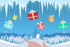 Invierno Forest Landscape Christmas Background Gift Imágenes de archivo libres de regalías