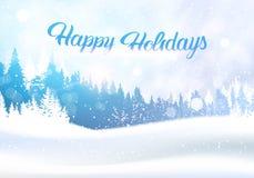 Invierno Forest Landscape With Happy Holidays de la nieve que pone letras al fondo blanco de maderas de árbol de pino Nevado stock de ilustración
